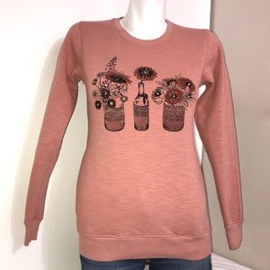 Sizelly Vintage Peach Bedazzled Crewneck Sweater